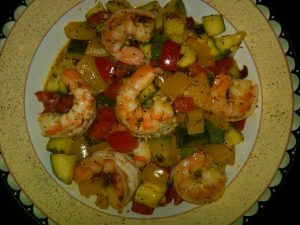 season food like shrimp stir fry with herbs and spices