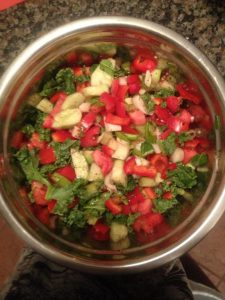 fresh vegetables with cucumber tomato salad and seasoning