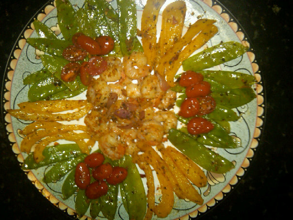 Shrimp with Snow Peas and Peppers